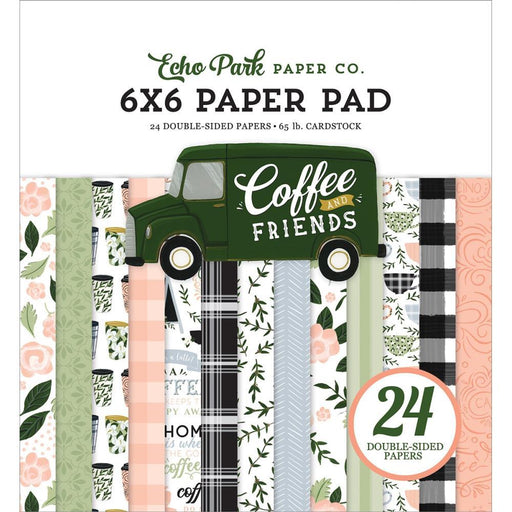 "Echo Park Coffee and Friends 6""x6"" Double Sided Paper Pad (CF230023)-Only One Life Creations"