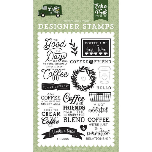 Echo Park Coffee and Friends Clear Stamps: Coffe Addicts (CF230040)-Only One Life Creations
