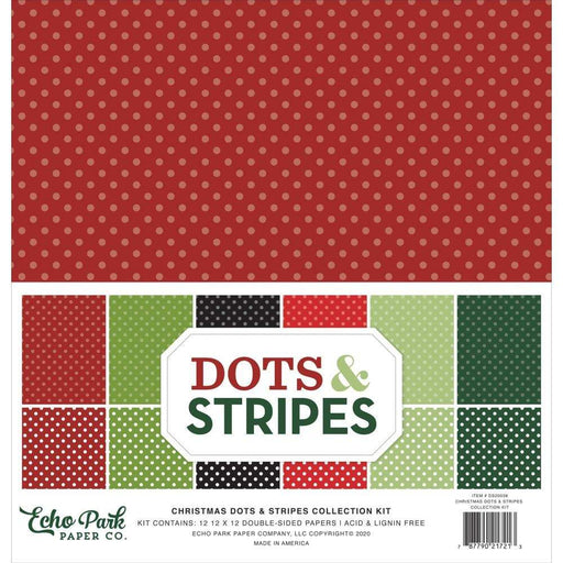 "Echo Park Double-Sided Collection Pack 12""X12"" 12/Pkg: Dots/Stripes, Christmas (DS20038)-Only One Life Creations"