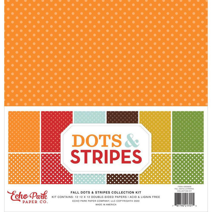 "Echo Park Double-Sided Collection Pack 12""X12"" 12/Pkg: Dots/Stripes, Fall (DS20036)-Only One Life Creations"