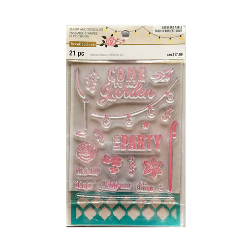 GARDEN PARTY stamp & stencil set by Recollections (536643)-Only One Life Creations