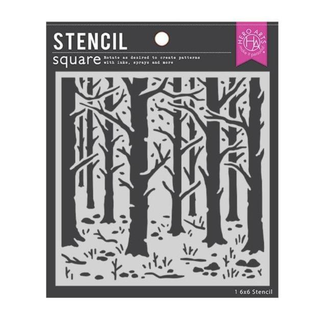 "Hero Arts 6""x6"" Stencil: Woodland Forest (HASA155)-Only One Life Creations"