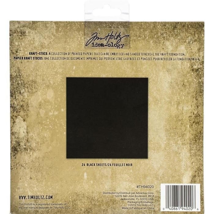 "Idea-Ology Kraft Stock Cardstock Pad 8""X8"" 24/Pkg: Blackout (TH94020)-Only One Life Creations"