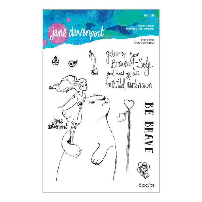 Jane Davenport Whimsical and Wild Collection Clear Stamps: Brave Bear (JDS049)-Only One Life Creations