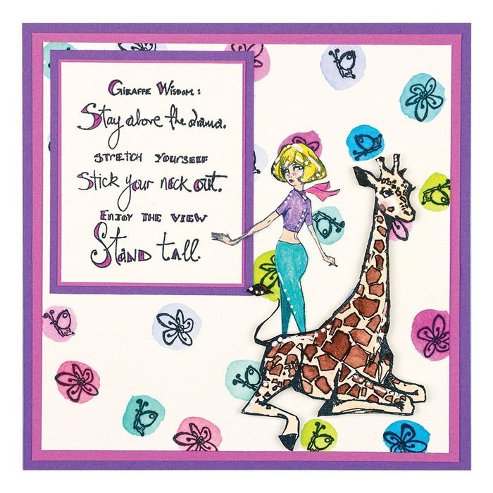 Jane Davenport Whimsical and Wild Collection Clear Stamps: Giraffe Wisdom (JDS053)-Only One Life Creations