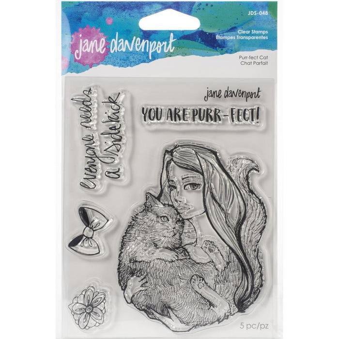 Jane Davenport Whimsical and Wild Collection Clear Stamps: Purr-fect Cat (JDS048)-Only One Life Creations
