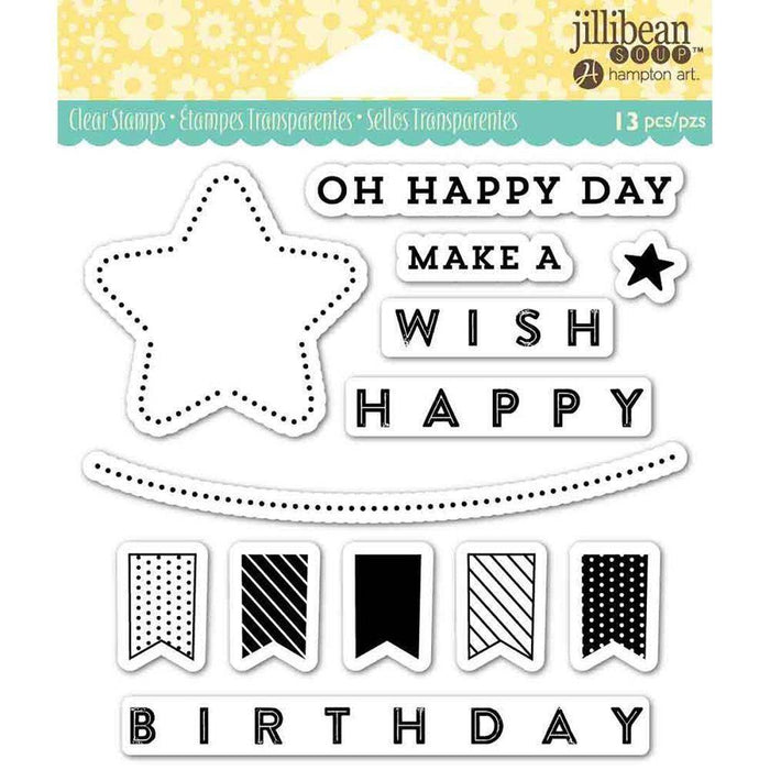 Jillibean Soup clear stamp set: Oh Happy Day, By Hampton Art (JB0834)-Only One Life Creations