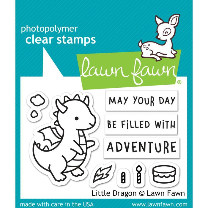 "Lawn Fawn 3""x2"" Clear Stamps: Little Dragon (LF2323)-Only One Life Creations"