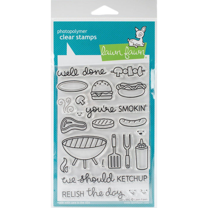 "Lawn Fawn 4""x6"" clear stamps: Let's BBQ (LF889)-Only One Life Creations"