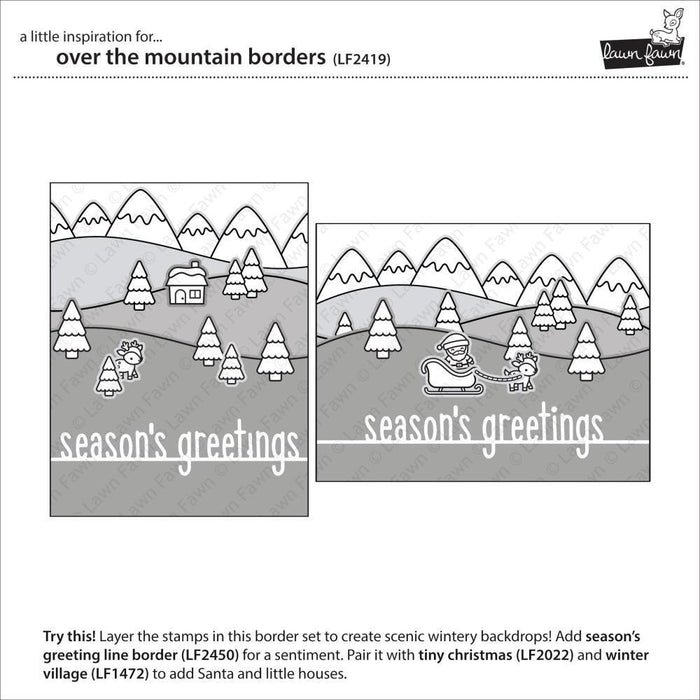 "Lawn Fawn 4""x6"" Clear Stamps: Over The Mountain Borders (LF2419)-Only One Life Creations"