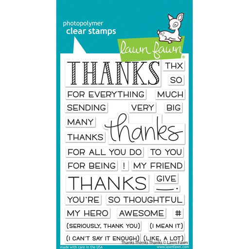 "Lawn Fawn 4""x6"" Clear Stamps: Thanks Thanks Thanks (LF2405)-Only One Life Creations"
