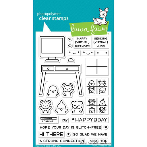 "Lawn Fawn 4""x6"" Clear Stamps: Virtual Friends (LF2504)-Only One Life Creations"