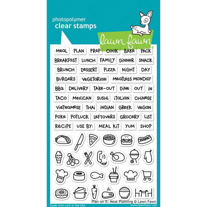 Lawn Fawn Clear Stamp: Plan On It, Meal Planning (LF1928)-Only One Life Creations