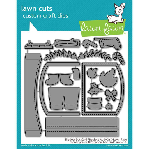 Lawn Fawn Custom Craft Die Cuts: Shadow Box Card Fireplace Add-On (LF2437)-Only One Life Creations