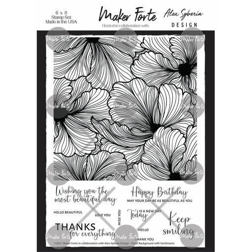 "Maker Forte 6""x8"" Clear Stamps: Floral Background (20090296)-Only One Life Creations"