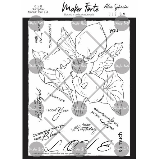 "Maker Forte 6""x8"" Clear Stamps: I Adore You (20090298)-Only One Life Creations"
