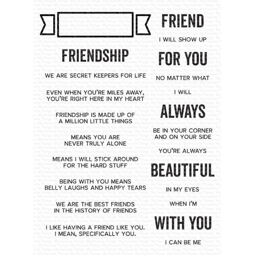 "My Favorite Things 6""x8"" Cleary Sentimental Stamps: What Friendship Means (CS543)-Only One Life Creations"