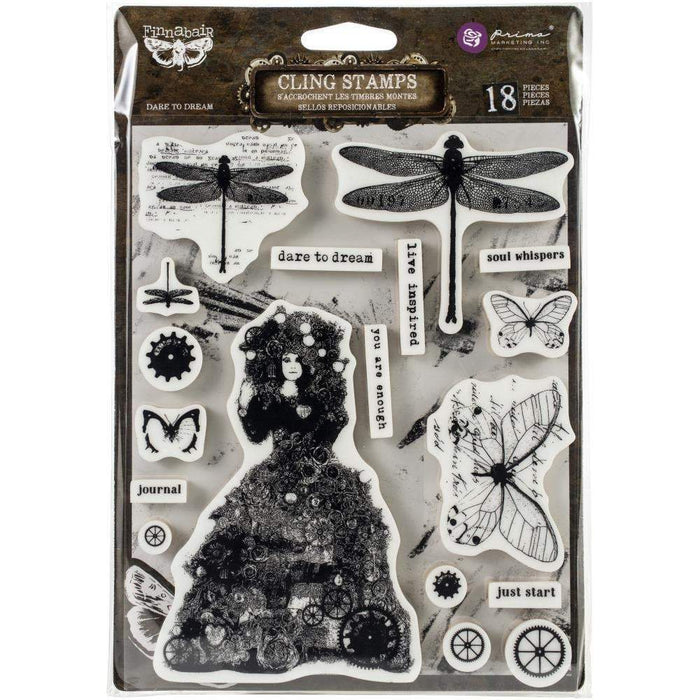 "Prima Marketing Finnabair Cling Stamp 6""X7.5"":Dare to Dream (967024)-Only One Life Creations"