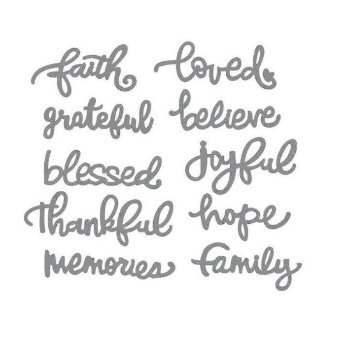 Recollections Cutting Templates: Faith and Family Words (542690)-Only One Life Creations