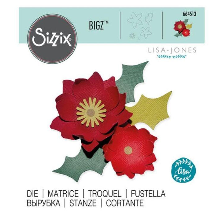 Sizzix Bigz Die By Lisa Jones: Winter Poinsettia (664513)-Only One Life Creations