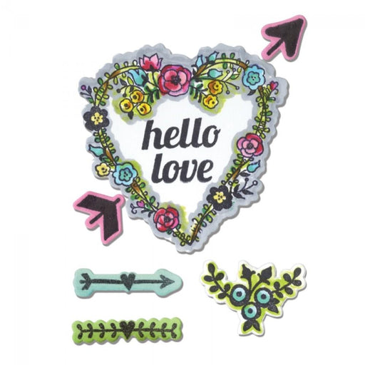 Sizzix Framelits Die Set 7Pk W/Stamps: Hello Love (660364)-Only One Life Creations