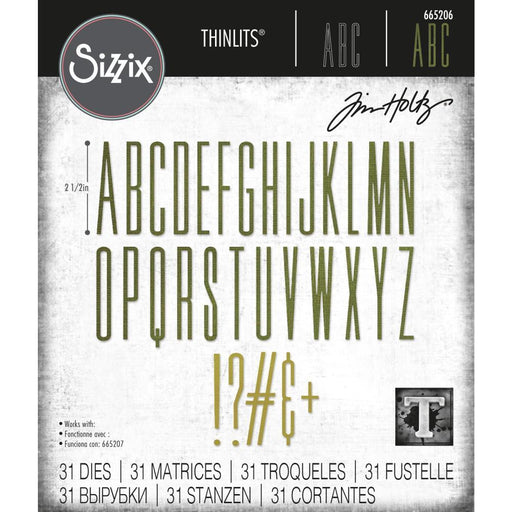Sizzix Thinlits Die: Alphanumeric Stretch Upper 31/pkg, by Tim Holtz (665206)-Only One Life Creations