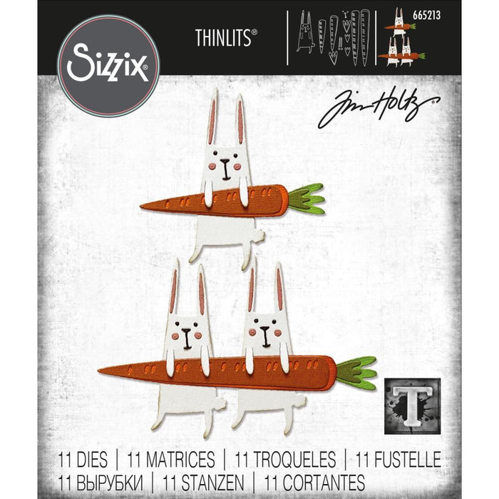Sizzix Thinlits Die: Carrot Bunny, by Tim Holtz (665213)-Only One Life Creations