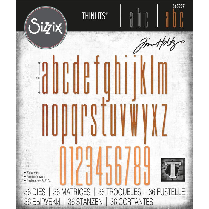 Sizzix Thinlits Dies: Alphanumeric Stretch Lower & Numbers, by Tim Holtz (665207)-Only One Life Creations
