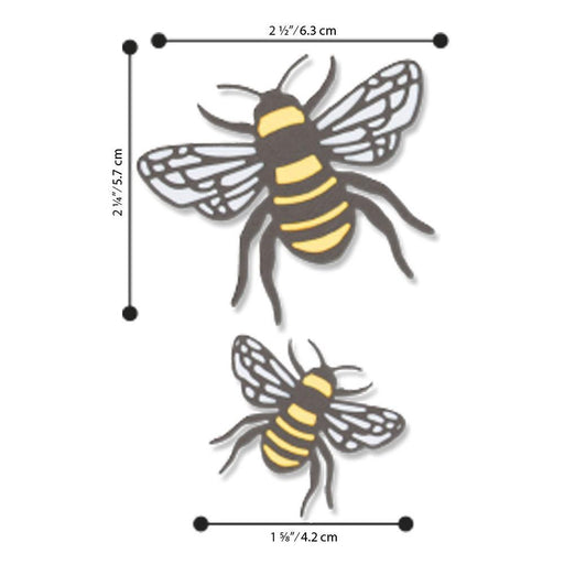 Sizzix Thinlits Dies: Bee 4/Pkg, by Lisa Jones (663852)-Only One Life Creations