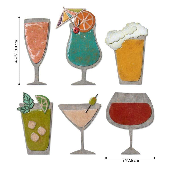 Sizzix Thinlits Dies: Happy Hour, by Tim Holtz (664435)-Only One Life Creations