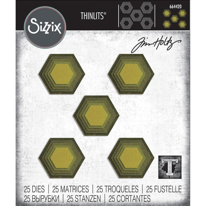 Sizzix Thinlits Dies: Stacked Tiles Hexagons, by Tim Holtz (664420)-Only One Life Creations