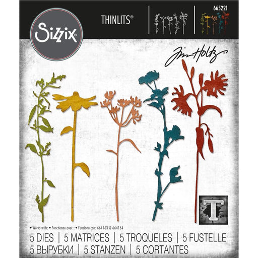 Sizzix Thinlits Dies: Wildflower Stems #3, by Tim Holtz (665221)-Only One Life Creations