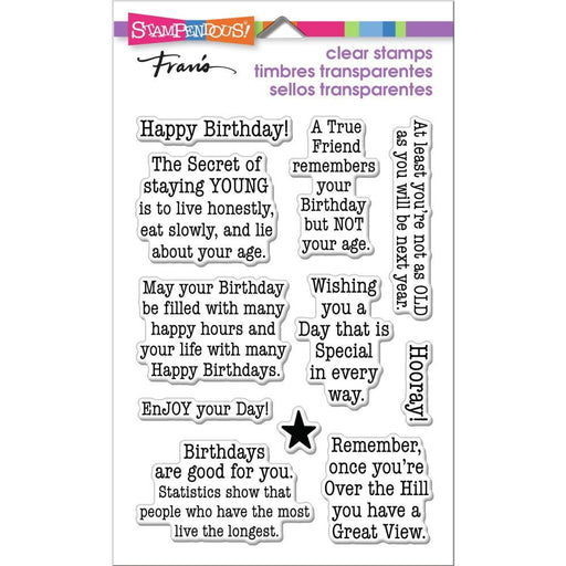 "Stampendous 4""x5.5 Clear Stamp: Birthday Age (SSC1385)-Only One Life Creations"