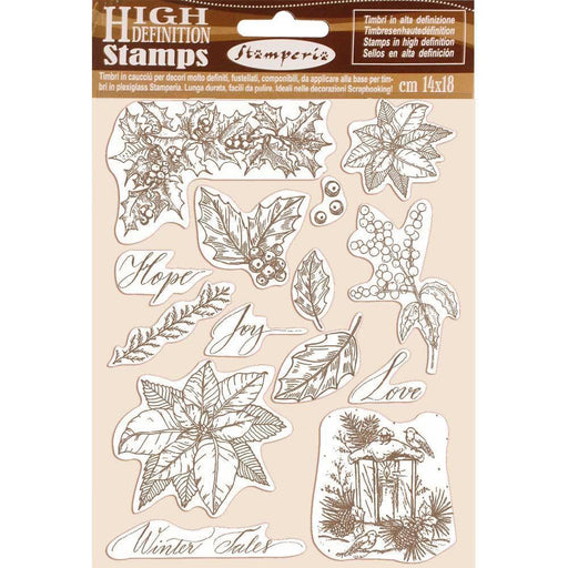 "Stamperia 5.5""x7"" Rubber Cling Stamps: Poinsettia, Winter Tales (WTKCC170)-Only One Life Creations"
