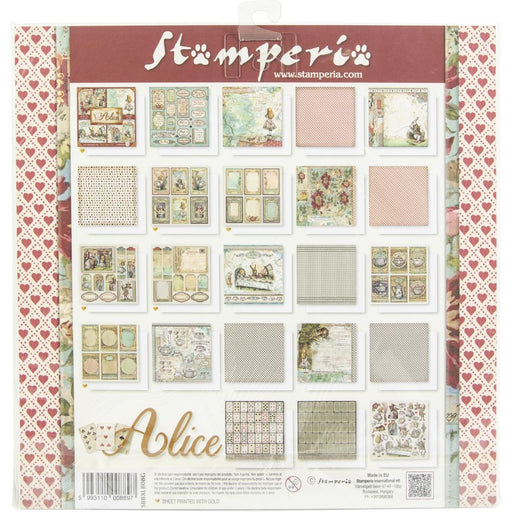 "Stamperia Alice 12""x12"" Single Sided Paper Pad (SBBXLB08)-Only One Life Creations"