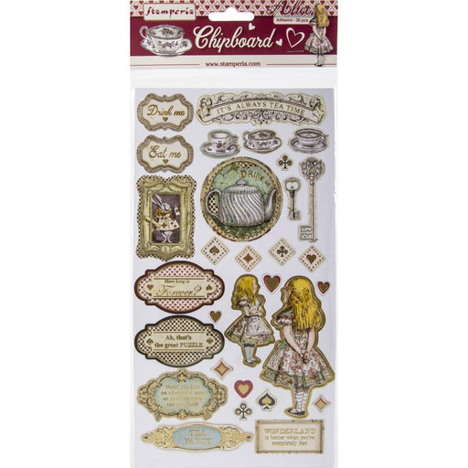 "Stamperia Alice 6""x12"" Adhesive Chipboard Stickers (DFLCB12)-Only One Life Creations"