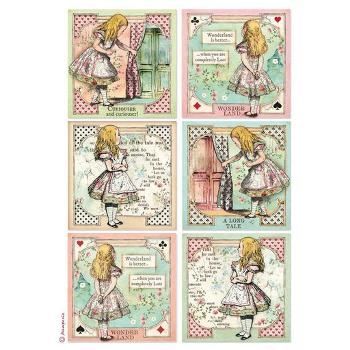 Stamperia Alice Rice Paper Sheet: Alice Cards (DFSA4382)-Only One Life Creations