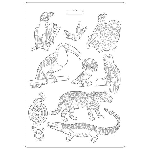 "Stamperia Amazonia 8.5""x11.5"" Soft Maxi Mould: Animals (K3PTA491)-Only One Life Creations"