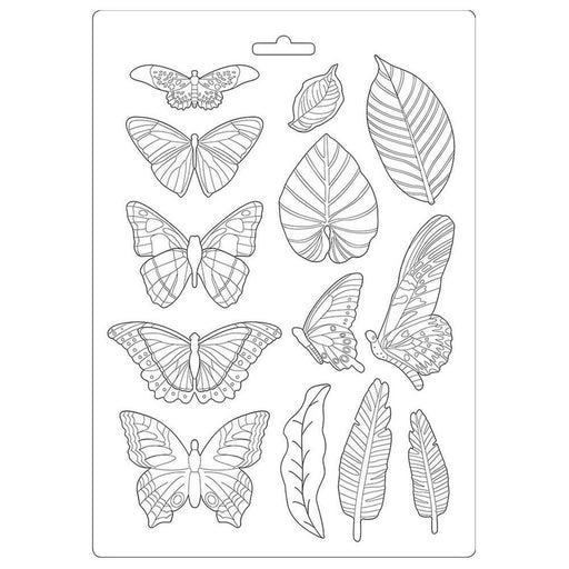 "Stamperia Amazonia 8.5""x11.5"" Soft Maxi Mould: Leaves and Butterflies (K3PTA489)-Only One Life Creations"