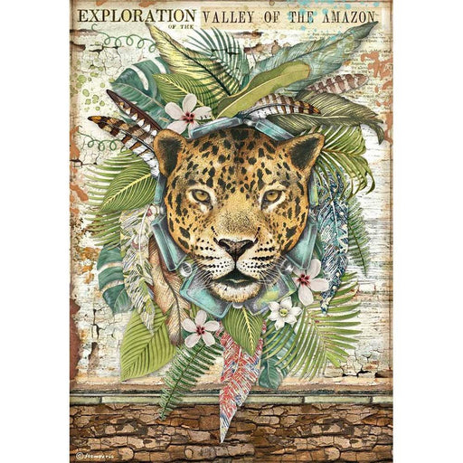 Stamperia Amazonia Rice Paper Sheet: Jaguar (DFSA4530)-Only One Life Creations