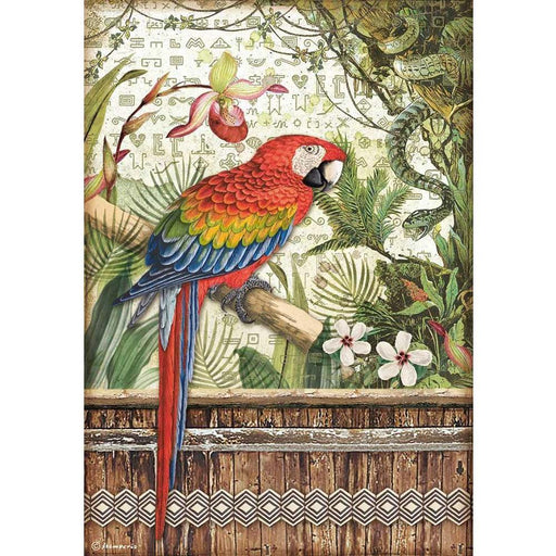 Stamperia Amazonia Rice Paper Sheet: Parrot (DFSA4531)-Only One Life Creations