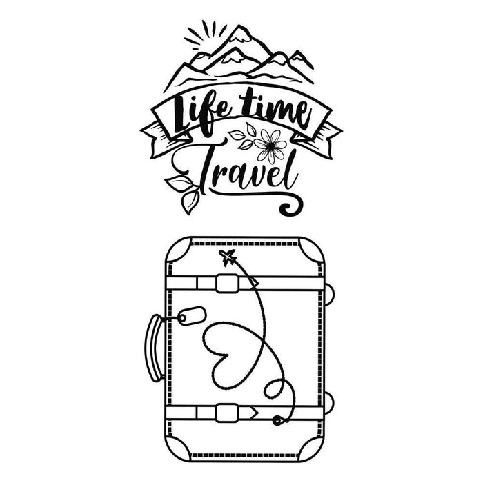 Stamperia Cling Stamps: Suitcase Life Time, by Johanna Rivero (WTKJR15)-Only One Life Creations