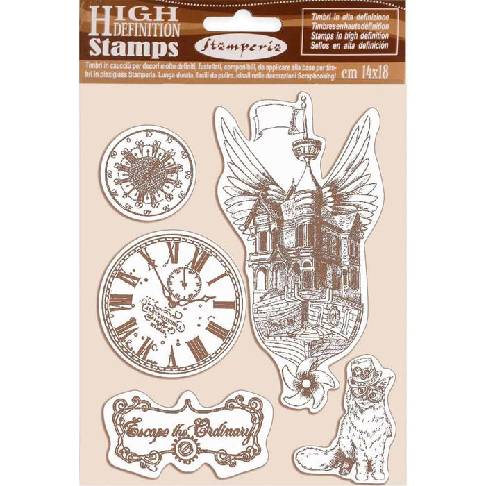 "Stamperia Lady Vagabond 5.5""x7"" Cling Rubber Stamp: Flying Ship (WTKCC190)-Only One Life Creations"