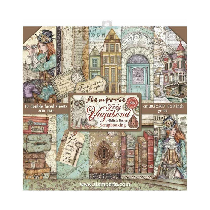 "Stamperia Lady Vagabond 8""x8"" Double Sided Paper Pad (SBBS27)-Only One Life Creations"