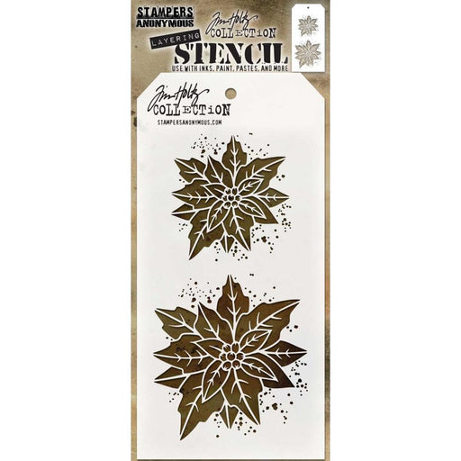 "Tim Holtz 4""x8.5"" Layered Stencil: Poinsettia Due (THS153)-Only One Life Creations"