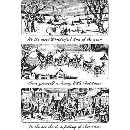 "Tim Holtz 7""x8.5"" Cling Stamp: Holiday Scenes (CMS425)-Only One Life Creations"