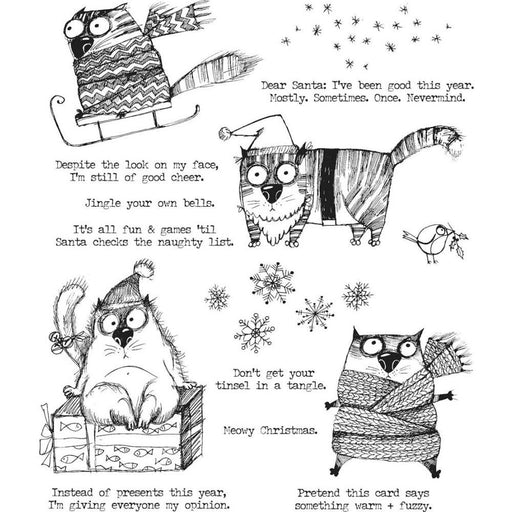 "Tim Holtz 7""x8.5"" Cling Stamp: Snarky Cat Christmas (CMS416)-Only One Life Creations"