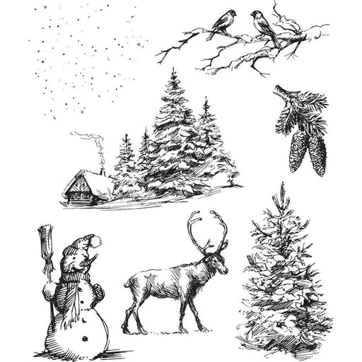 "Tim Holtz 7""x8.5"" Cling Stamp: Winterscape (CMS428)-Only One Life Creations"