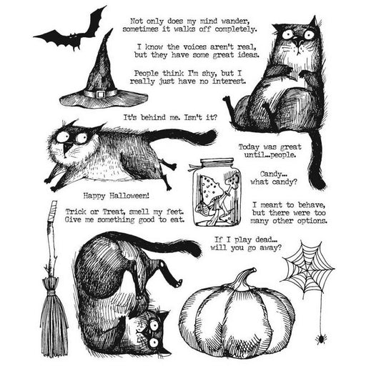 "Tim Holtz 7""X8.5"" Cling Stamps: Snarky Cat Halloween (CMS407)-Only One Life Creations"
