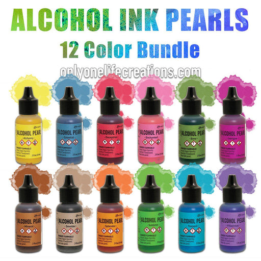 Tim Holtz Alcohol Ink Pearls, 12 Color Bundle-Only One Life Creations